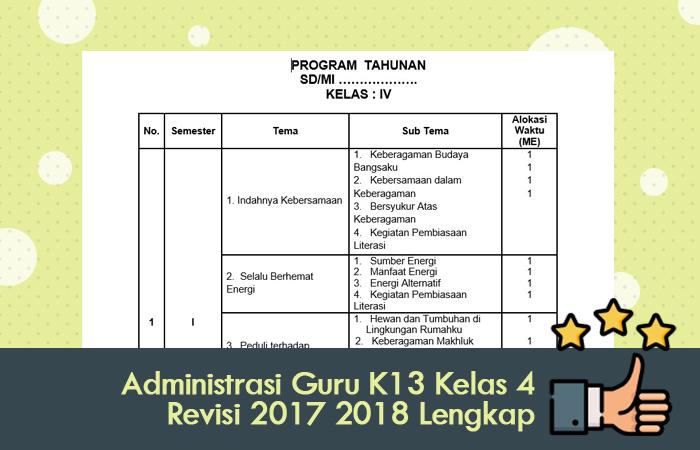 Administrasi Guru Kurikulum 2013 Kelas 4 Revisi 2017 2018 Lengkap