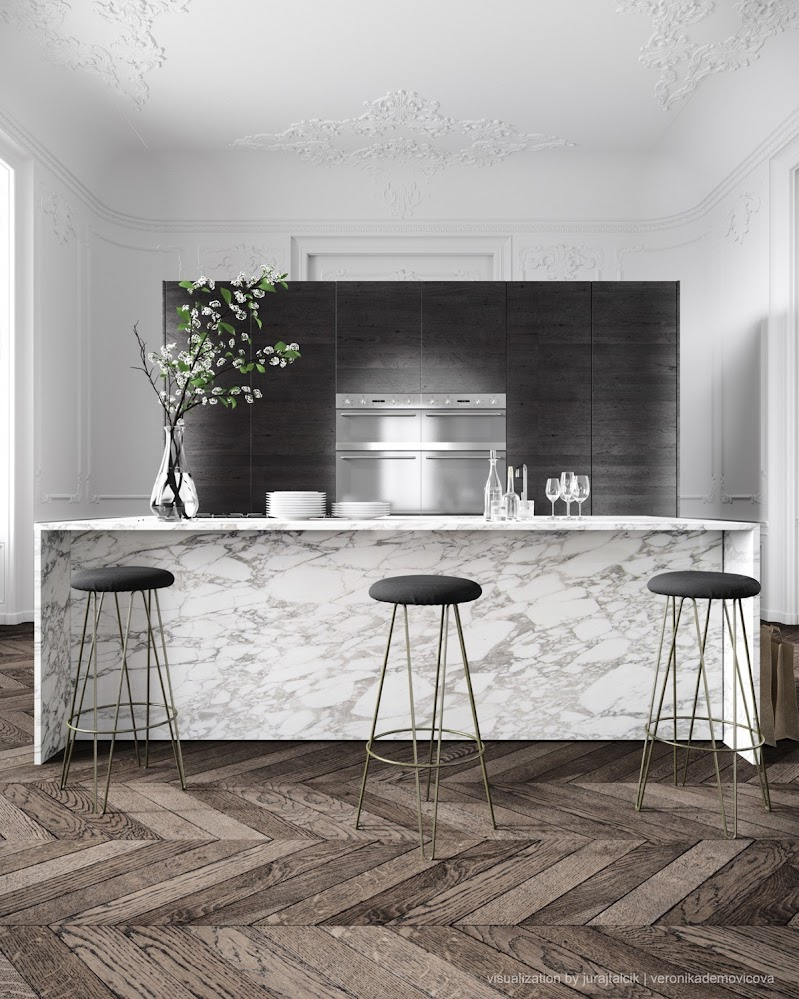 black-fade-black-stools-marble-kitchen