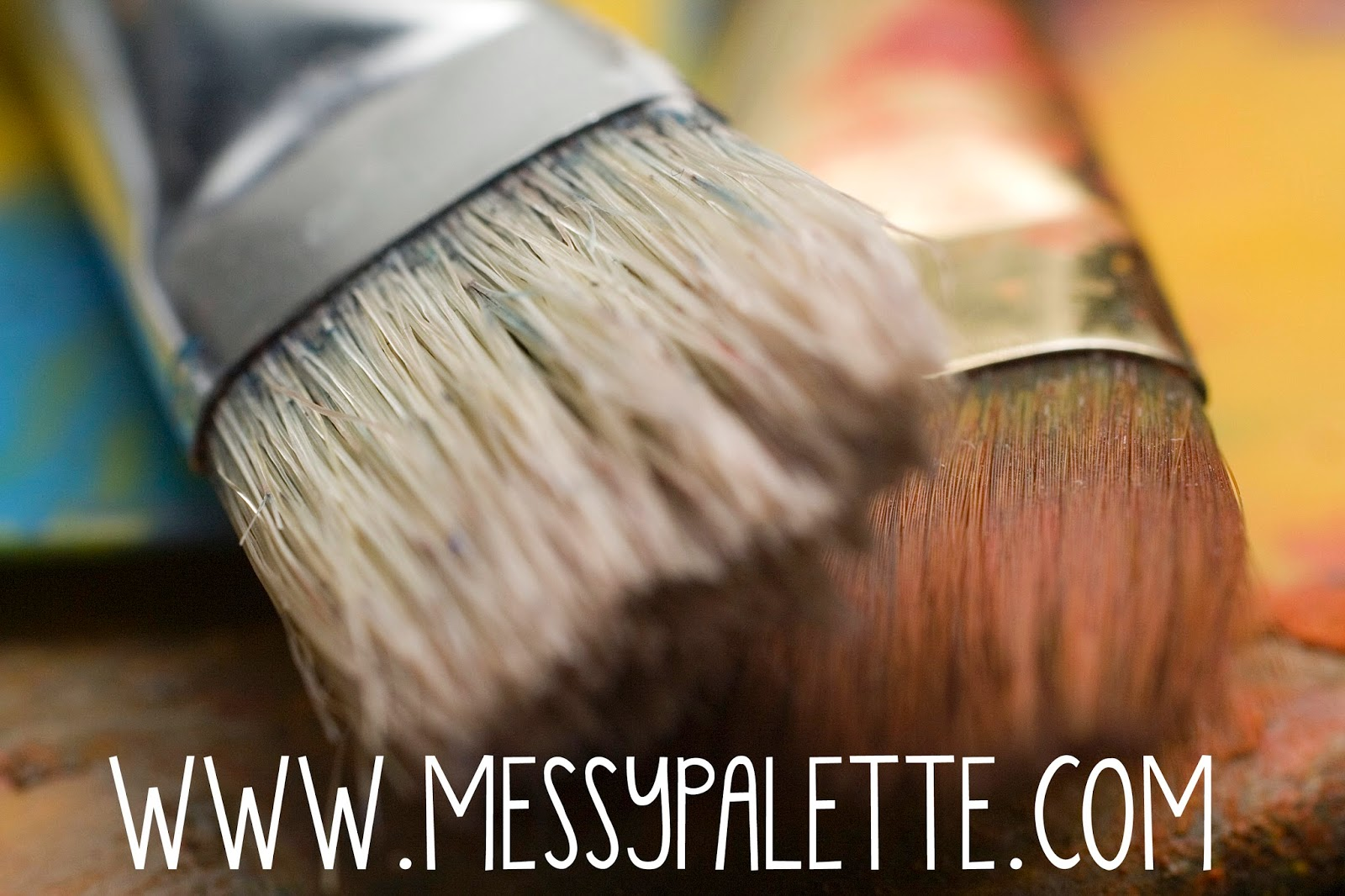 messy palette art studio - paint brushes