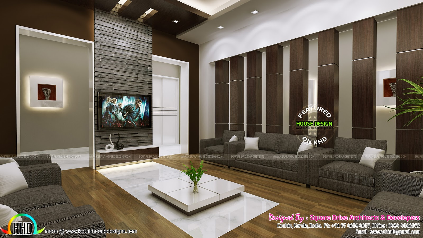 Very beautiful modern interior designs kerala home for Living room design ideas kerala