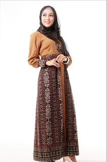 Gamis Batik Kombinasi Batik