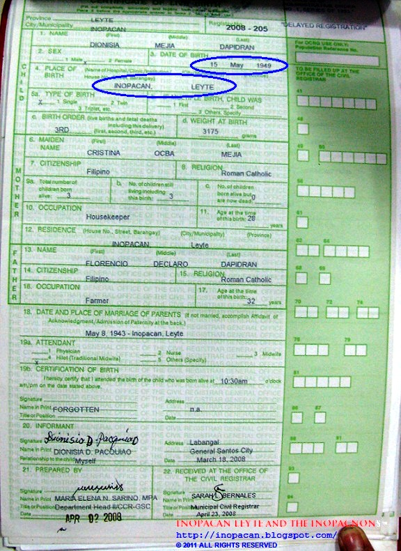 Inopacan leyte and the inopacnons the untold childhood story of dionisia d paquiaos live birth certificate yelopaper Choice Image