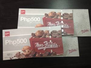 Mrs. Fields Philippines contest, free food, gift certificates