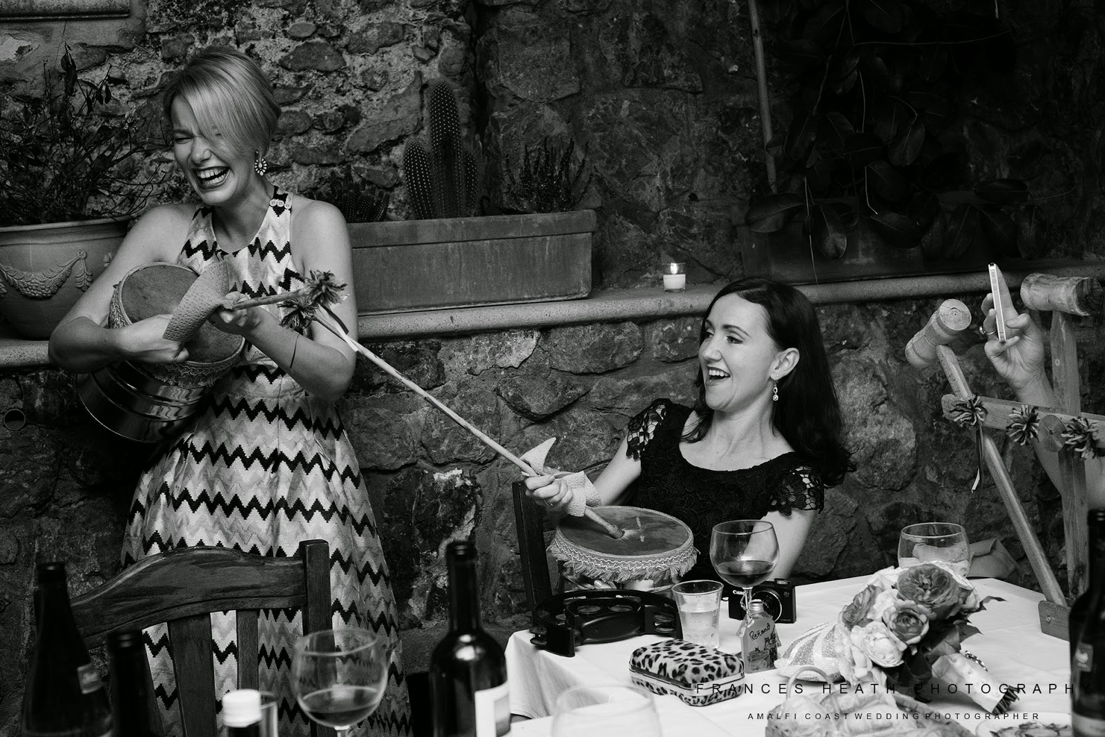Guests playing traditional Italian instruments in Positano