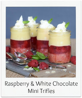 Flavoured with the popular combination of raspberry & white chocolate, these individual trifles are not only elegant and eye catching but are also a perfect dessert for dinner parties.  They're ideal regardless of the number of guests.