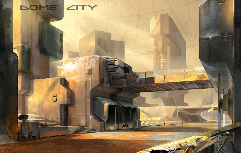 Concept art for Dome City game on Mars - street