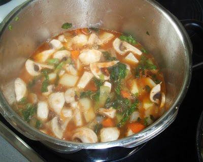 elaboración de la crema de verduras