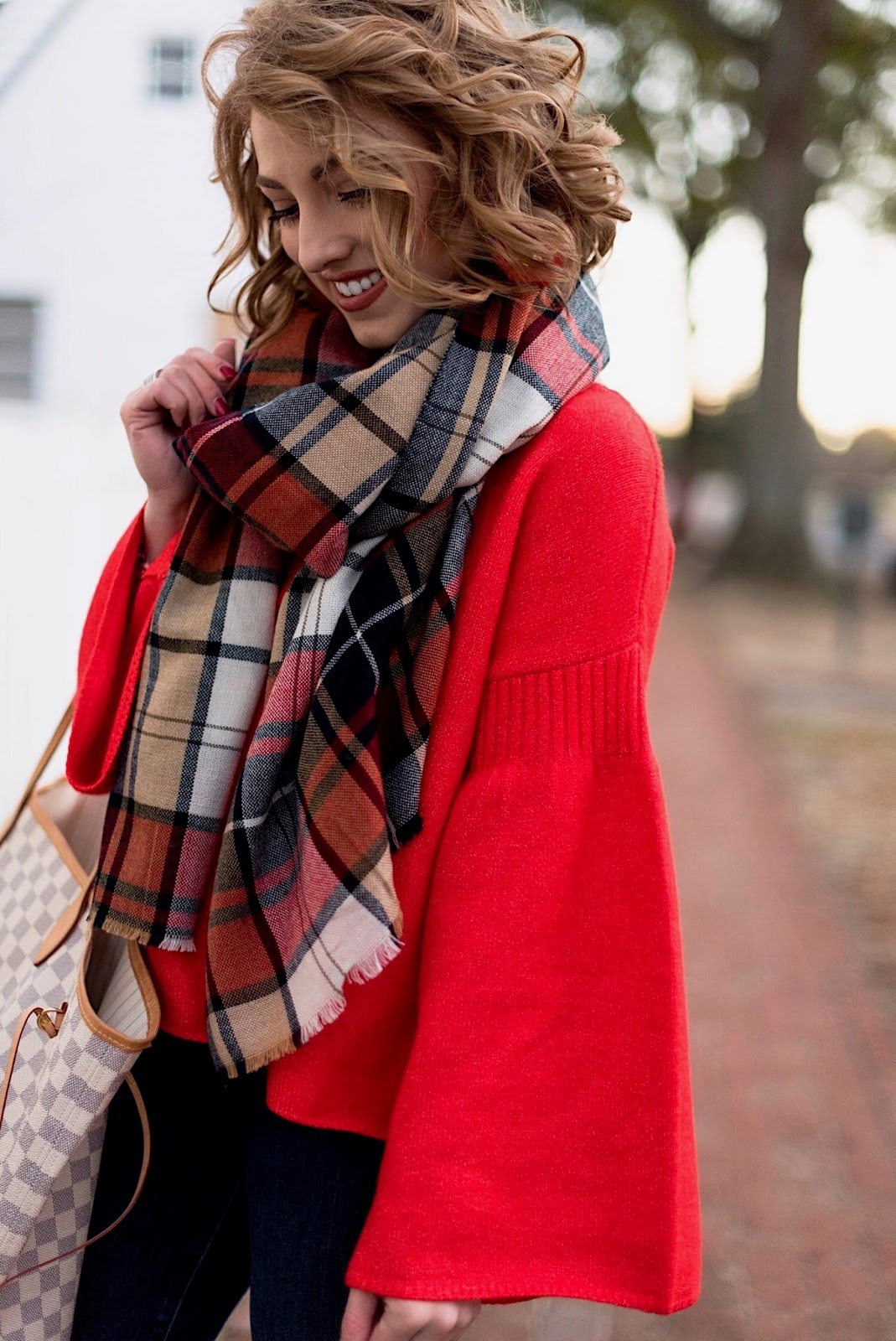 Red Sweater + Plaid Scarf - Something Delightful Blog