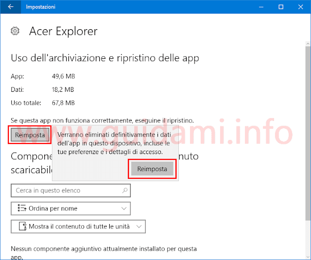 App Windows 10 reimpostare applicazione
