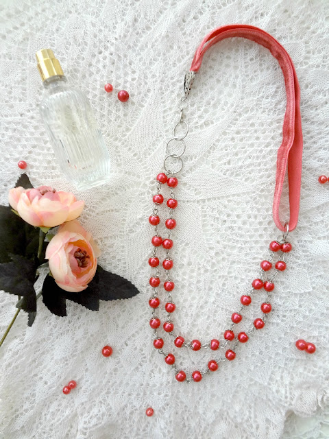 DIY Bead & Ribbon Romantic Necklace
