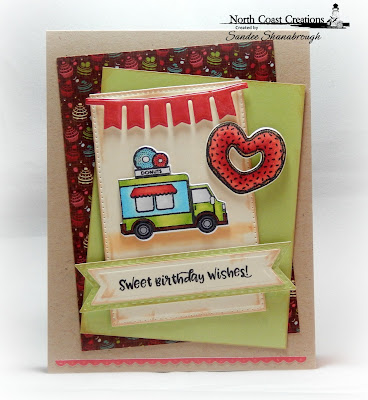 North Coast Creations Stamps and Dies: Sprinkled with Love, Paper Collection: Sweet Shoppe, ODBD Custom Dies: Bitty Borders, Pierced Rectangles, Double Stitched Pennant Flags, Pennant Swag, Pennant Flags