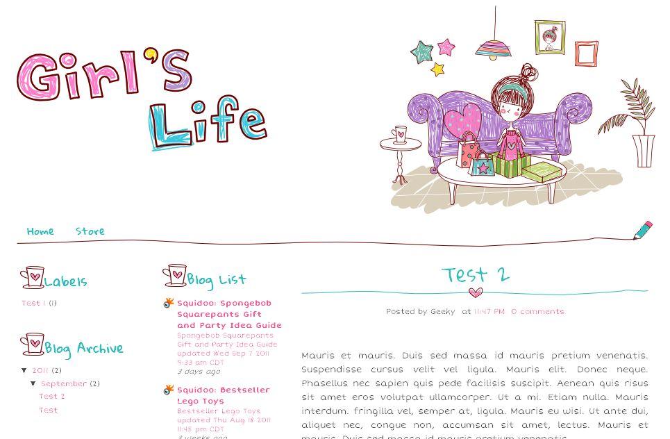 Girl Gift Blogger Template Ipietoon-Cute Blog Design - free cute blogger templates