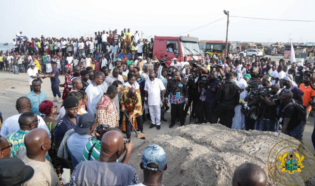 President Akufo-Addo Cuts Sod For Construction Of Jamestown Fishing Harbour