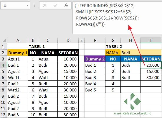 VLookup 2 Hasil Pencarian Dengan INDEX-SMALL-IF Excel