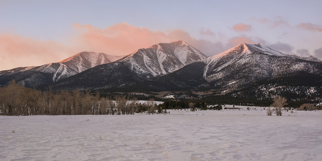 Mount Princeton a fourteener in Buena Vista Colorado at sunrise in Winter 14ers