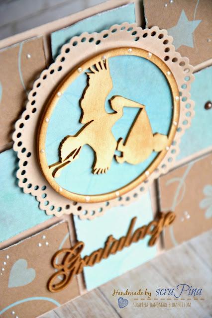 Kartka patchworkowa z bocianem z okazji narodzin chłopca t ręcznie robiona scrapina handmade scrapbooking pamiątka narodziny prezent papiery bee scrap craftowe marzenie