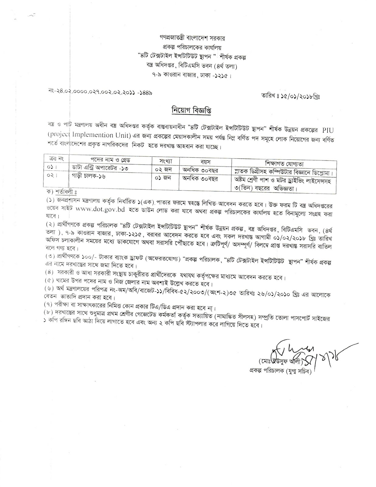 Textile Directorate job circular 2018