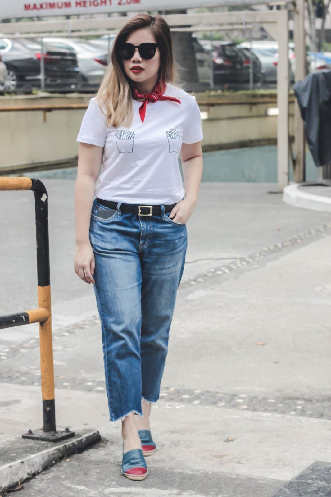 singapore blogger street style look book fashion bandana photography outfit denim tees