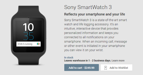 Sony Smartwatch 3 now available on Google Play Store