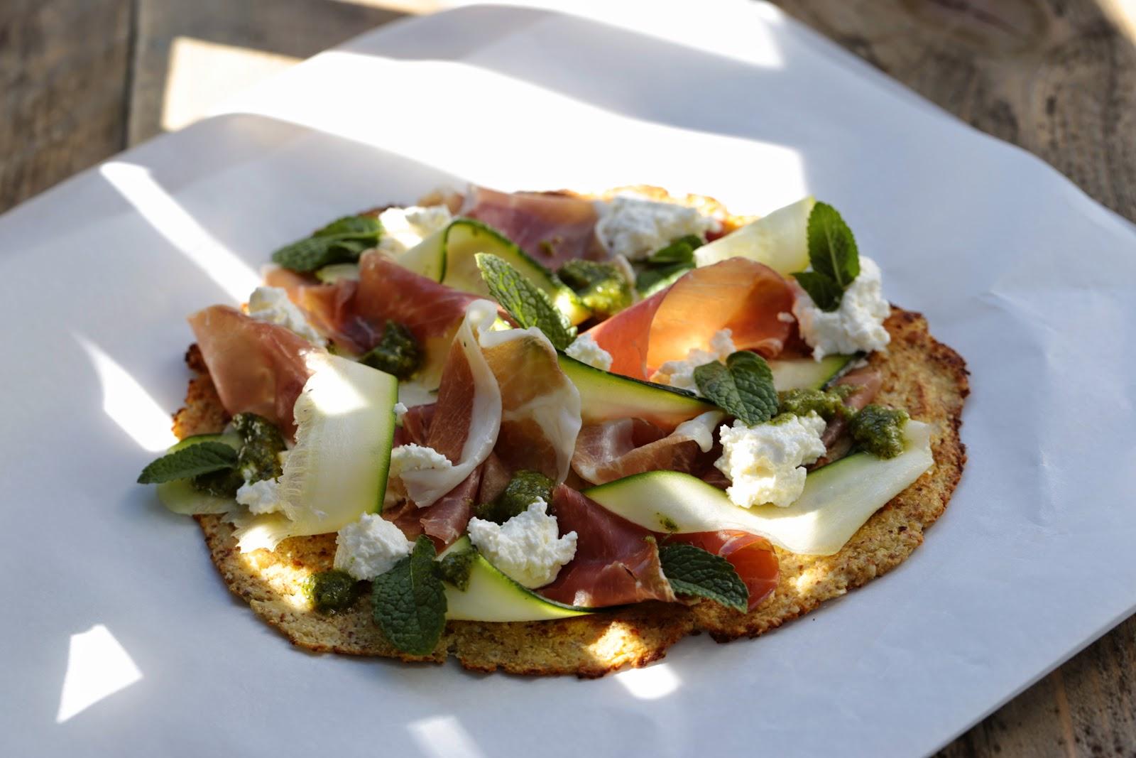 pizza chou-fleur , ricotta, jambon cru