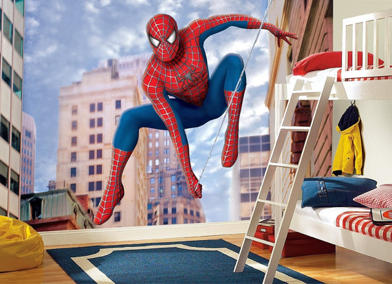 Superhero Wall Murals Spiderman Kids Boy Room