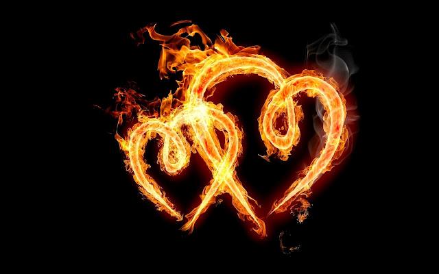 Liefde hartjes van vuur