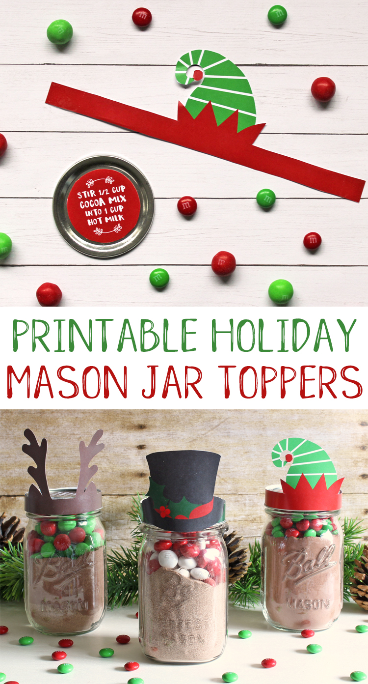 Free printable mason jar toppers for Christmas. An easy and cute neighbor gift idea for the holidays. #christmas #neighborgifts