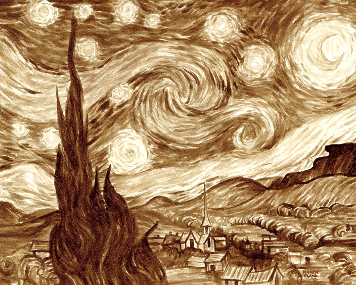 04-Vincent-van-Gogh-The-Starry-Night-Karen-Eland-Coffee-and-Water-Recreate-Famous-Paintings-with-a-Difference-www-designstack-co