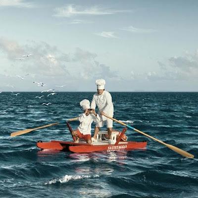 fotomontajes y cocineros en el mar