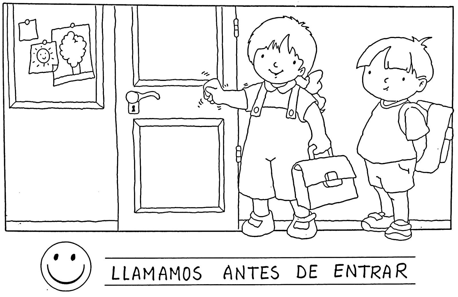 Convivencia Escolar Para Colorear Dibujos Escolares