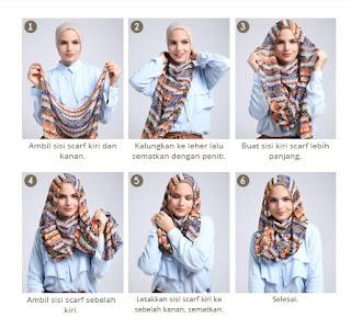 Tutorial hijab scarf segi empat motif