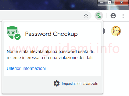 Notifica estensione Password Checkup per Google Chrome