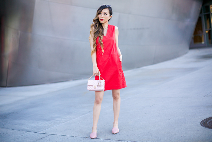 Everlane clean cotton v neck dress, red cotton dress, chanel classic flap bag, pink point slides, san francisco fashion blog, san francisco street style, chloe sunglasses