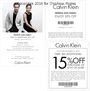 free Calvin Klein coupons december 2016