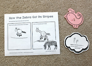 "Tessa's completed ""How the Zebra Got Its Stripes"" story prompt. First, she drew how the zebra looked before it got its stripes. Then, she drew how the zebra got its stripes...a striped snake slithered underneath the zebra's hooves. The snake's stripes transferred onto the zebra. The zebra graphic shows how the zebra looks today."