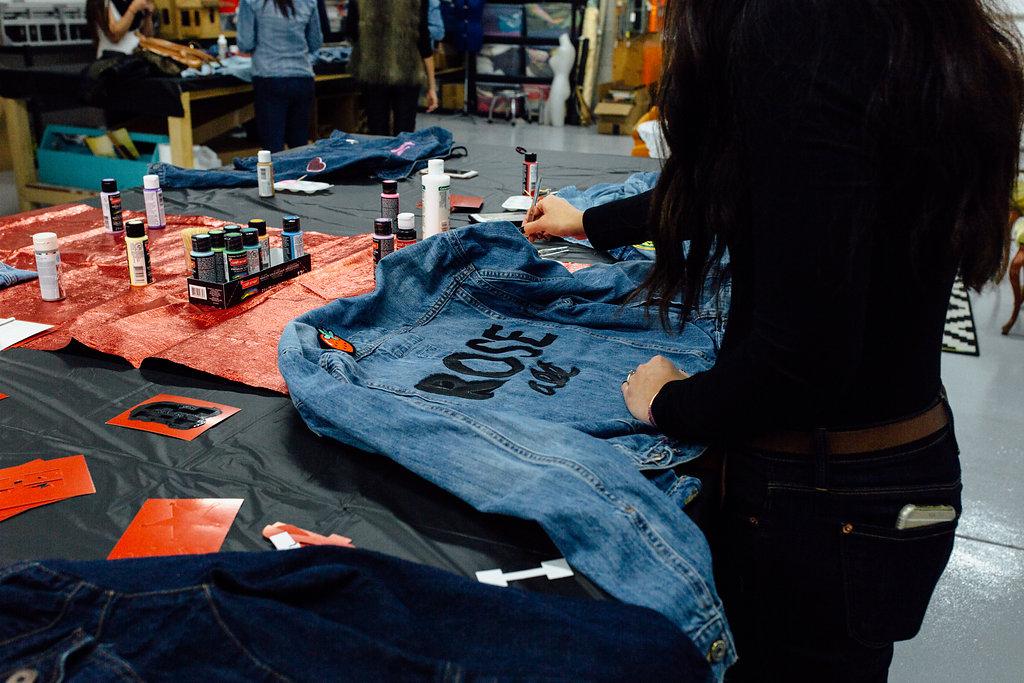 painted jacket, jacket painting, painting on denim