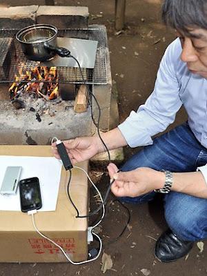 Ujicoba panci ajaib untuk charge baterai handphone