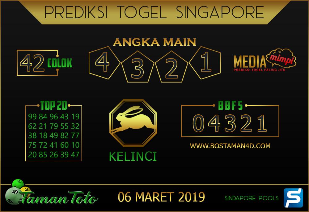 Prediksi Togel SINGAPORE TAMAN TOTO 06 MARET 2019