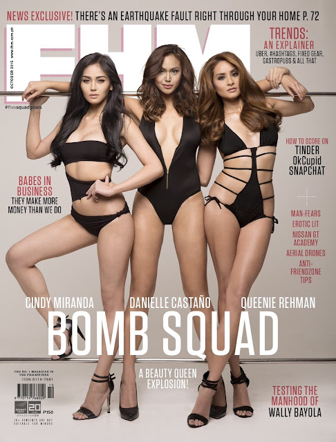 Danielle Castaño Cindy Miranda with Queenie Rehman FHM October 2015 Cover Girls