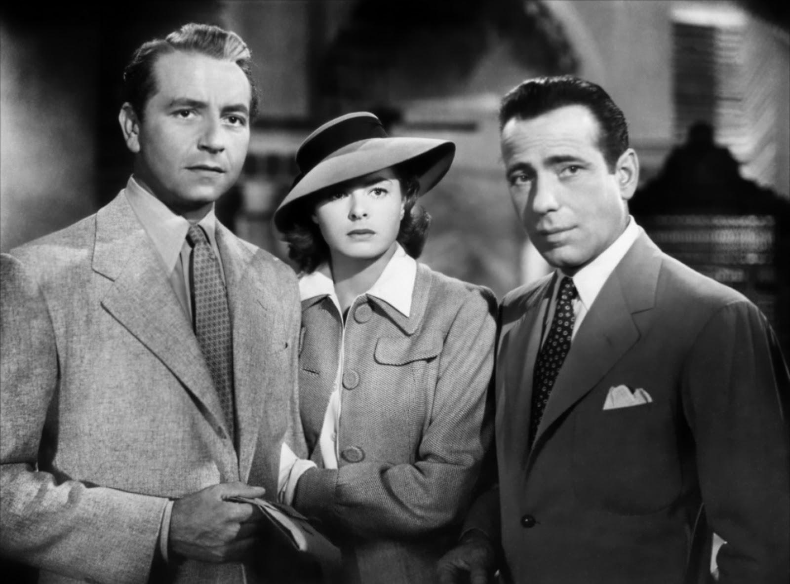 Casablanca (1942), starring Ingrid Bergman, Humphrey Bogart, directed by Michael Curtiz