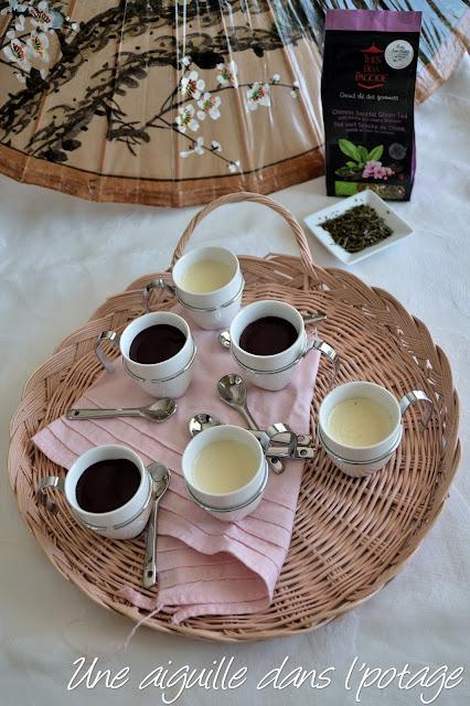 Panna cotta au thé vert Sencha de Chine, vanille et fleur de cerisier
