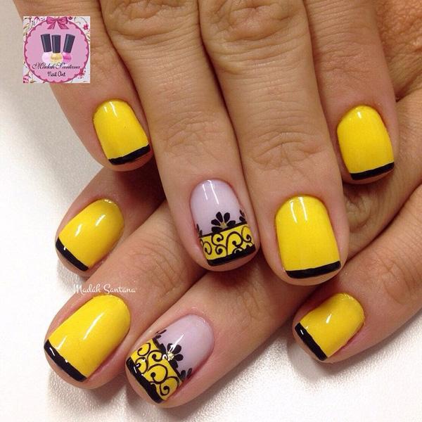 Black And Yellow Fingernails