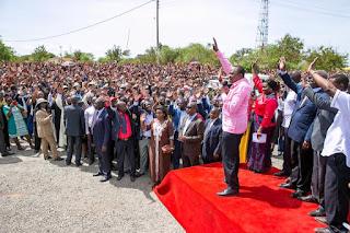 President Kenyatta launching a road project in Kitui. PHOTO   PSCU