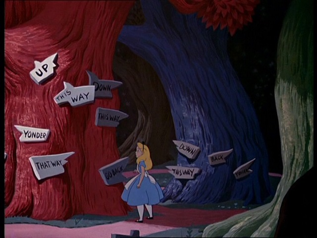 alice in wonderland directions, alice nel paese delle meraviglie che strada devo prendere