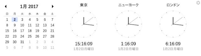 Chromeアプリで、世界の都市の時刻を表示させてみました。左から「東京」「ニューヨーク」「ロンドン」