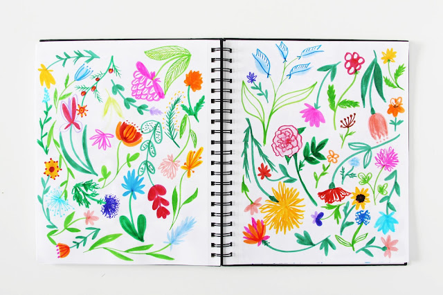 sketchbooks, marker, doodles, flowers, Anne Butera, My Giant Strawberry