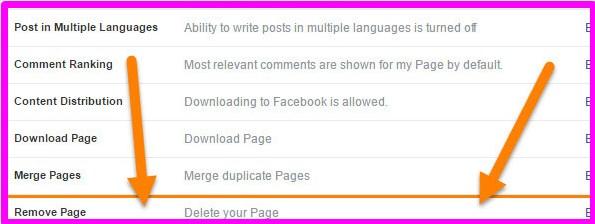 delete facebook fan page immediately