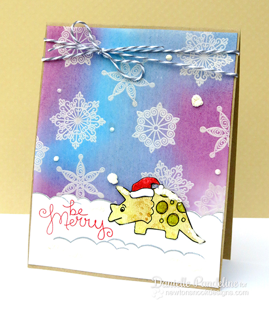 Dinosaur Christmas Card by Danielle Pandeline for Newton's Nook Designs