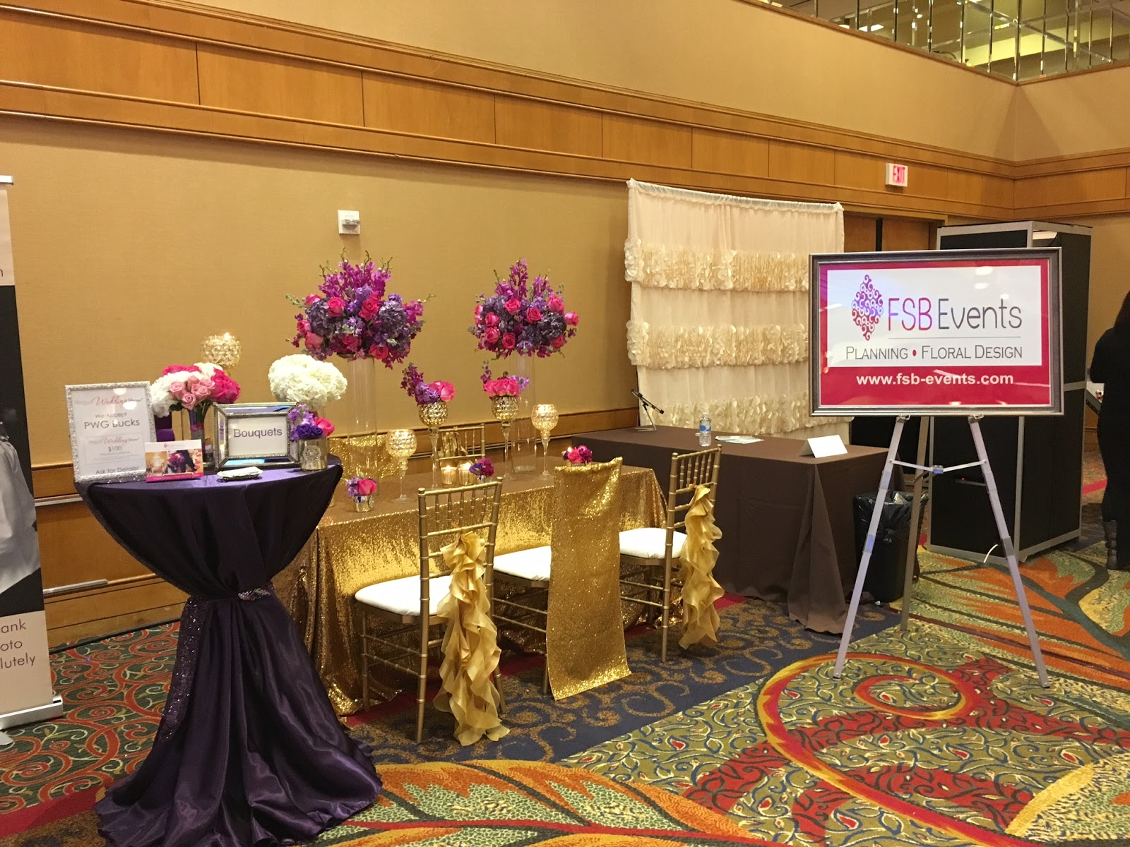 Flowers Designed By Fsb We Incorporated This Purple And Gold Table With Sparkles Everywhere My Bride Said It Was The Best Bridal Show She Has Ever