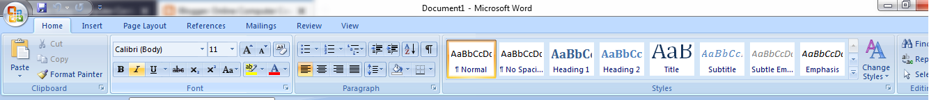 ms office formating toolbar